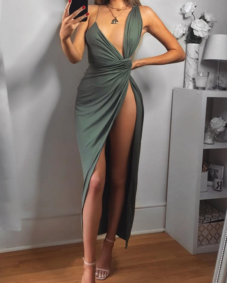 Asymmetric Ruched Deep V High Slit Maxi Dress