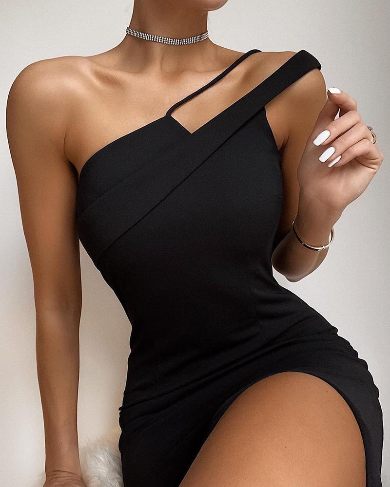 boutiquefeel / Um ombro vestido sem mangas sólido bodycon
