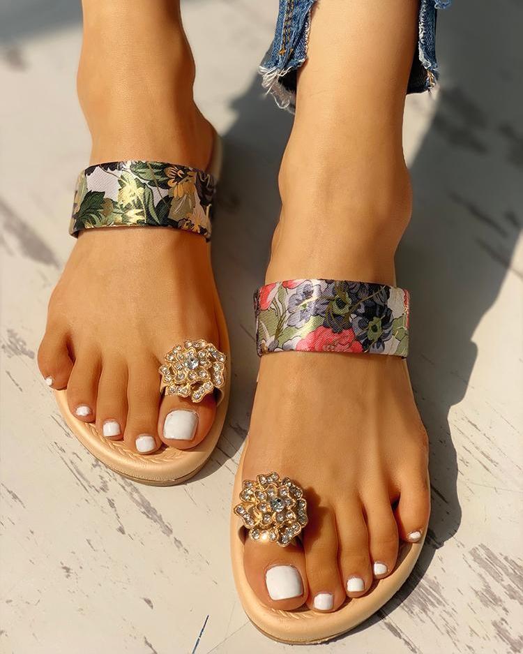 boutiquefeel / Sandalias casuales anillo de dedo del pie tachonado floral
