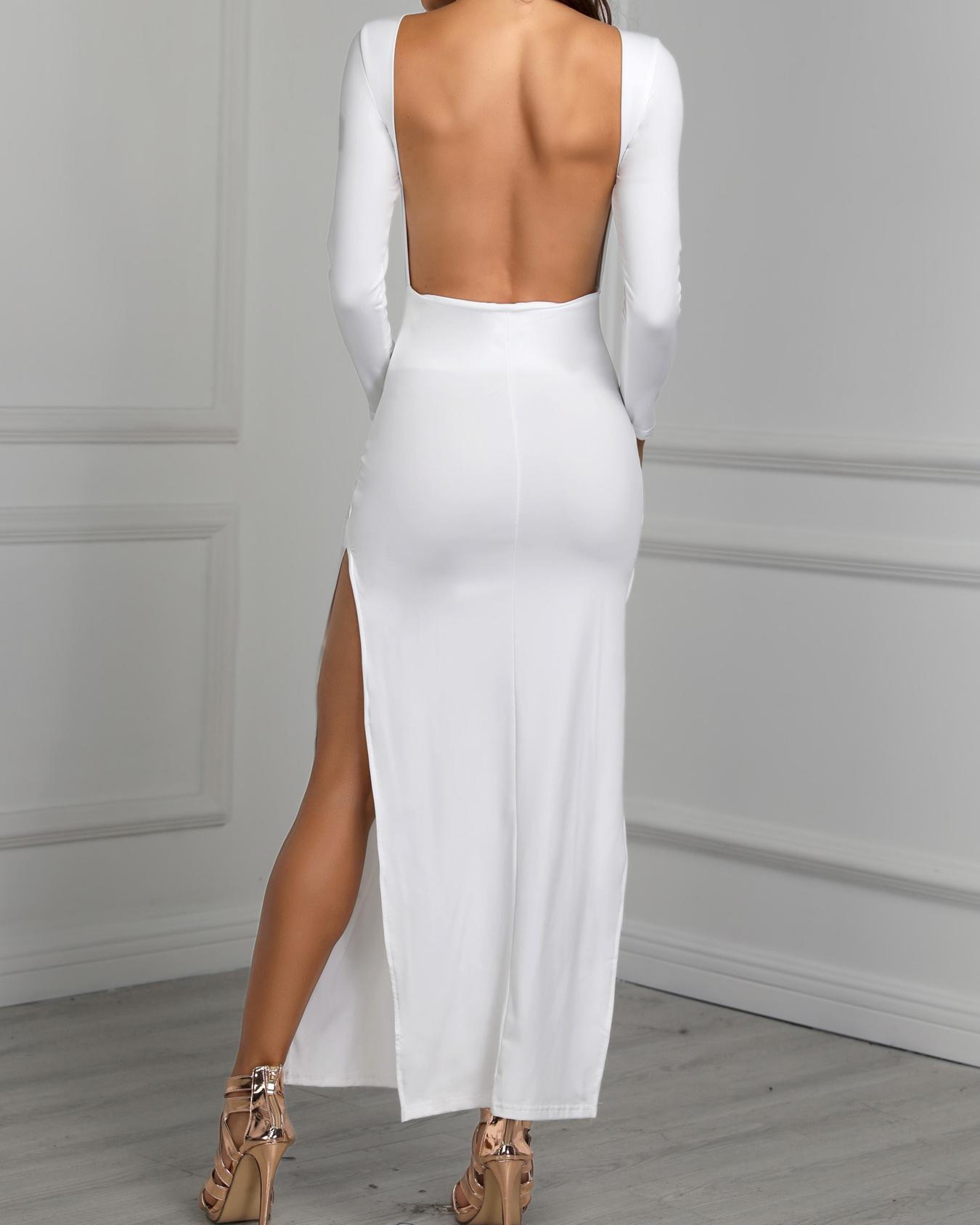 Open Back Side Slit Evening Dress