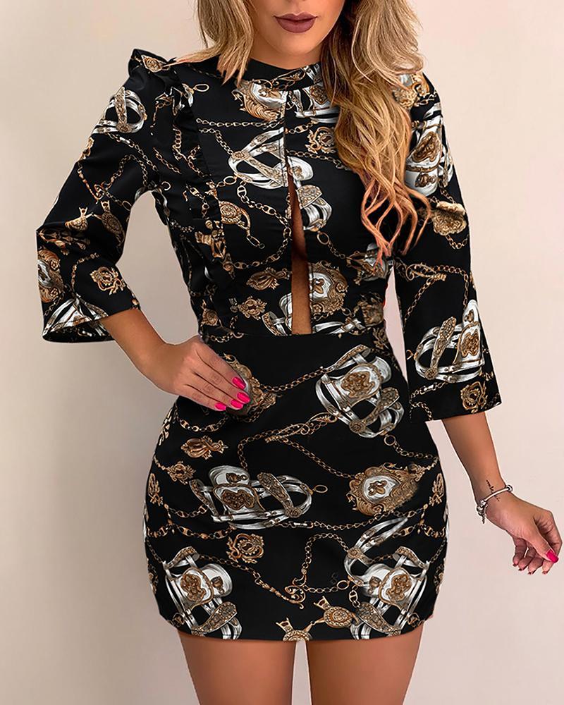 Chain Print Slit Detail Dress фото