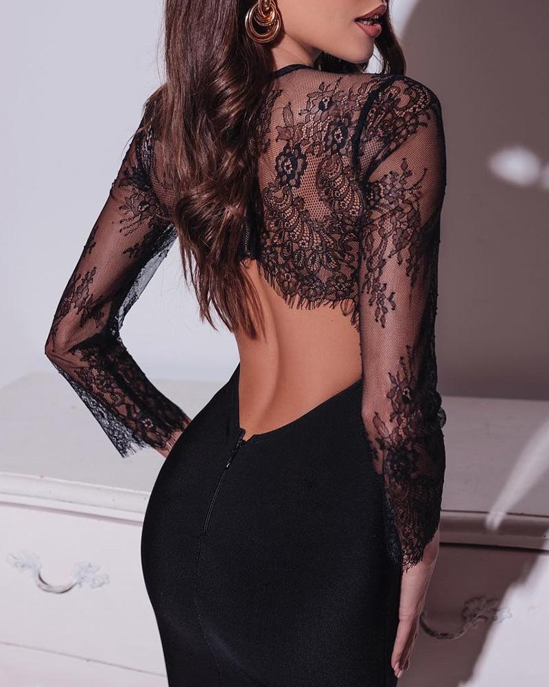 ivrose / Open Back Eyelash Lace Insert Bodycon Dress