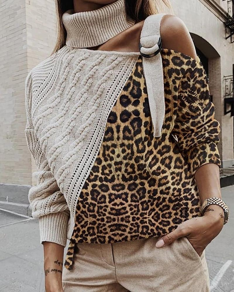 High Neck Colorblock Leopard Cut Out Knitting Sweater фото