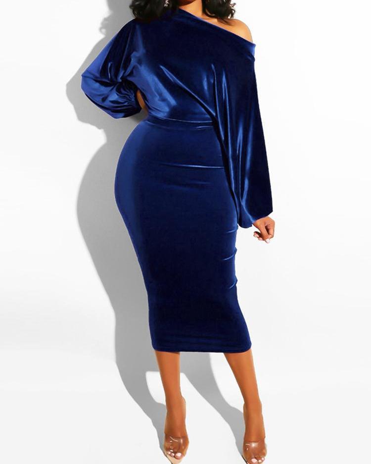 Velvet Off Shoulder Midi Dress