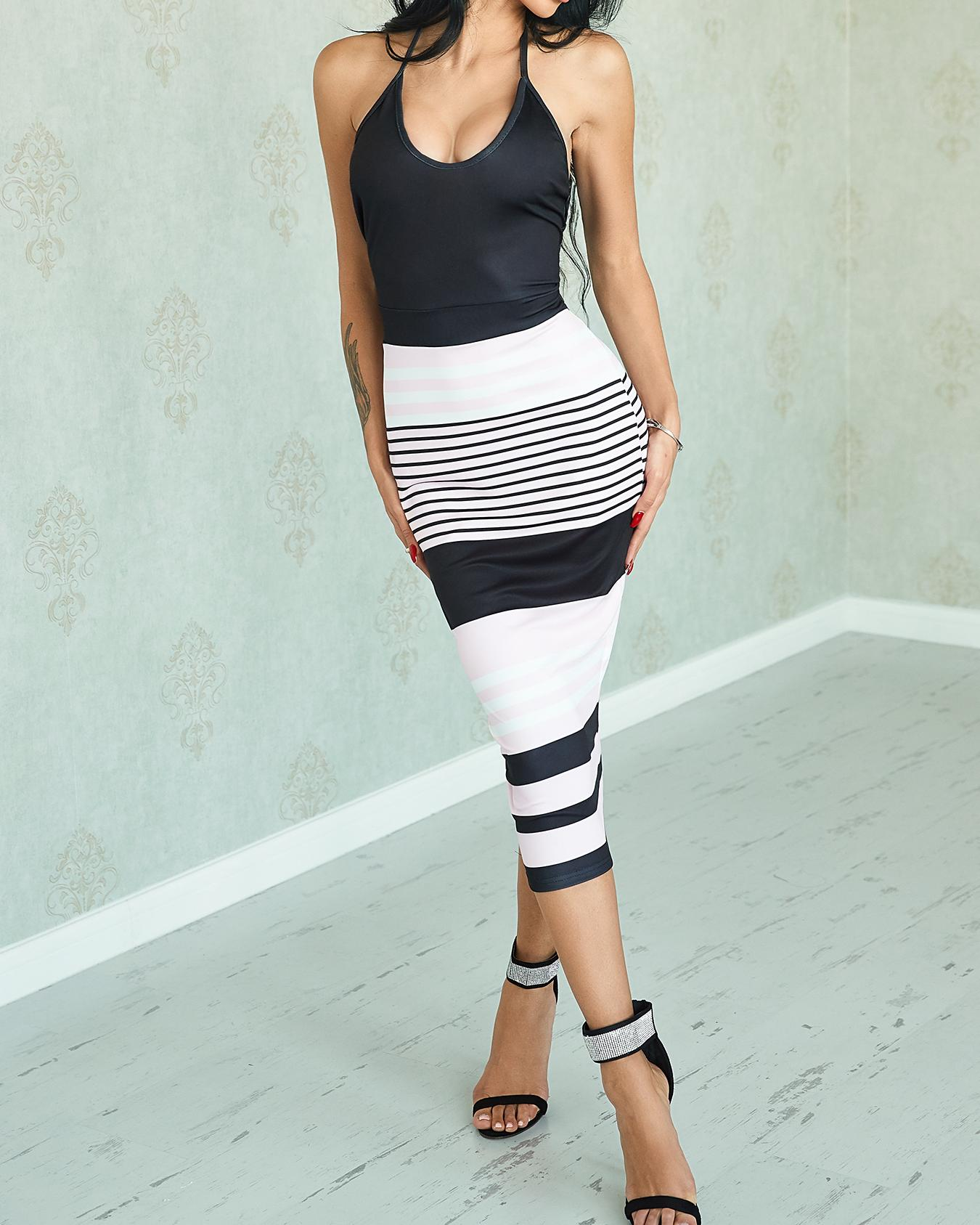 Contrast Color Patchwork Striped Bodycon Dress