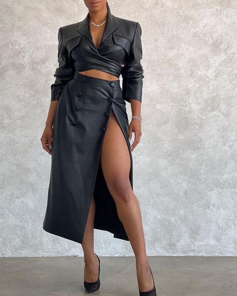 Image of PU Leather Blazer Coat & High Slit Maxi Skirt Set