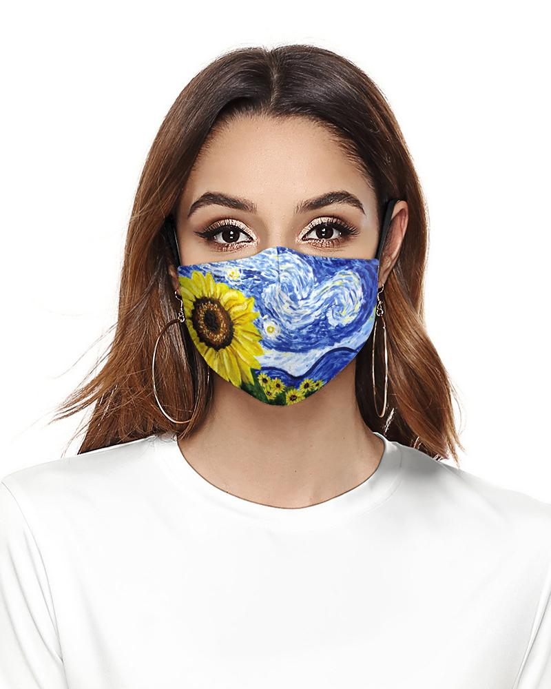Sunflower Leaf Print Breathable Face Mask фото