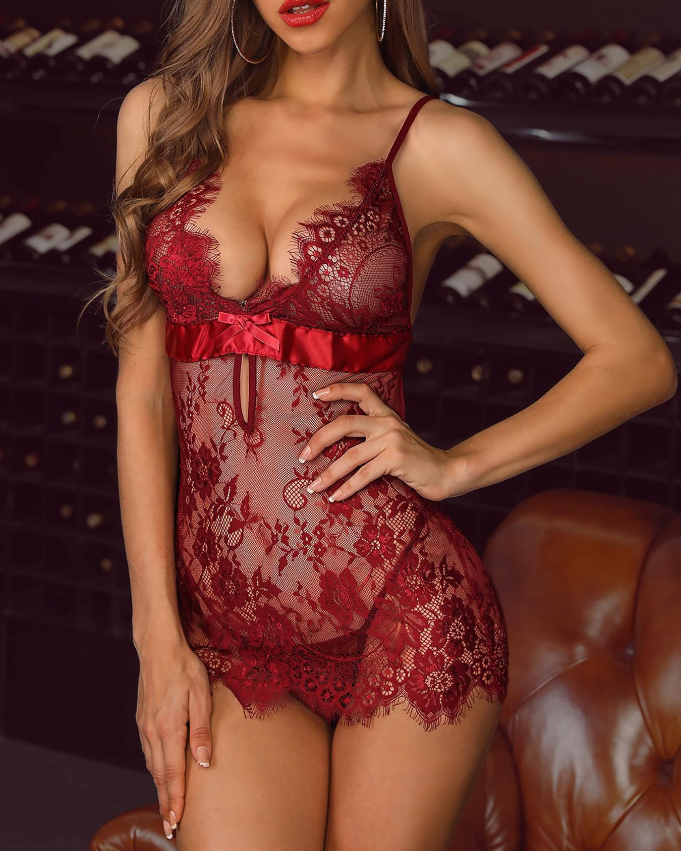 Spaghetti Strap Eyelash Lace Babydoll Dress фото