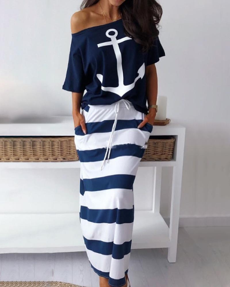 boutiquefeel / Boat Anchor Print T-Shirt & Striped Skirt Sets