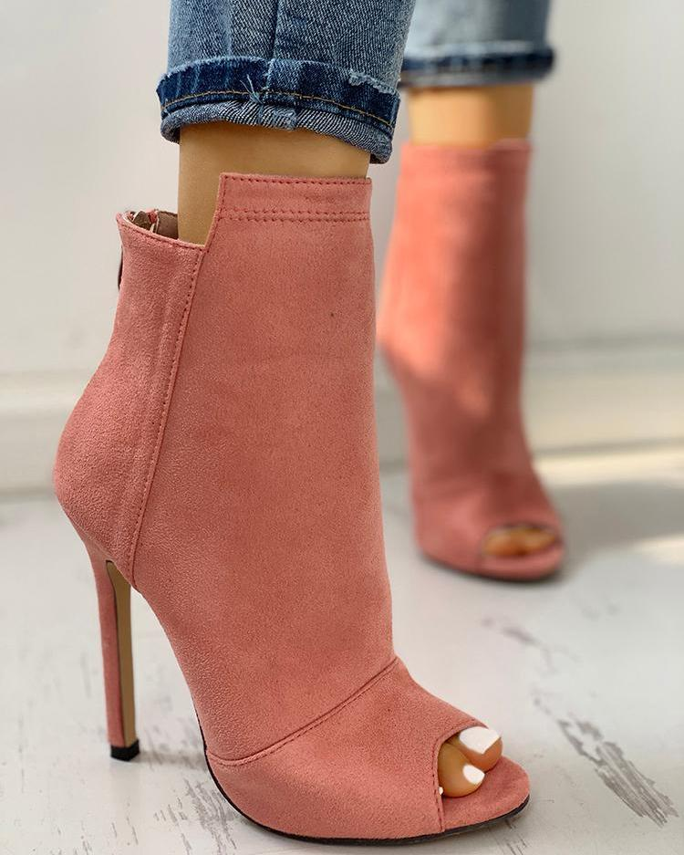 Suede Peep Toe Zipper Back Thin Heeled Boots
