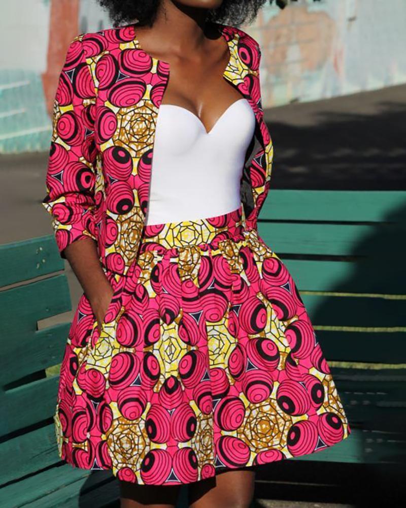 boutiquefeel / Imprimir mini falda plisada de cintura apretada