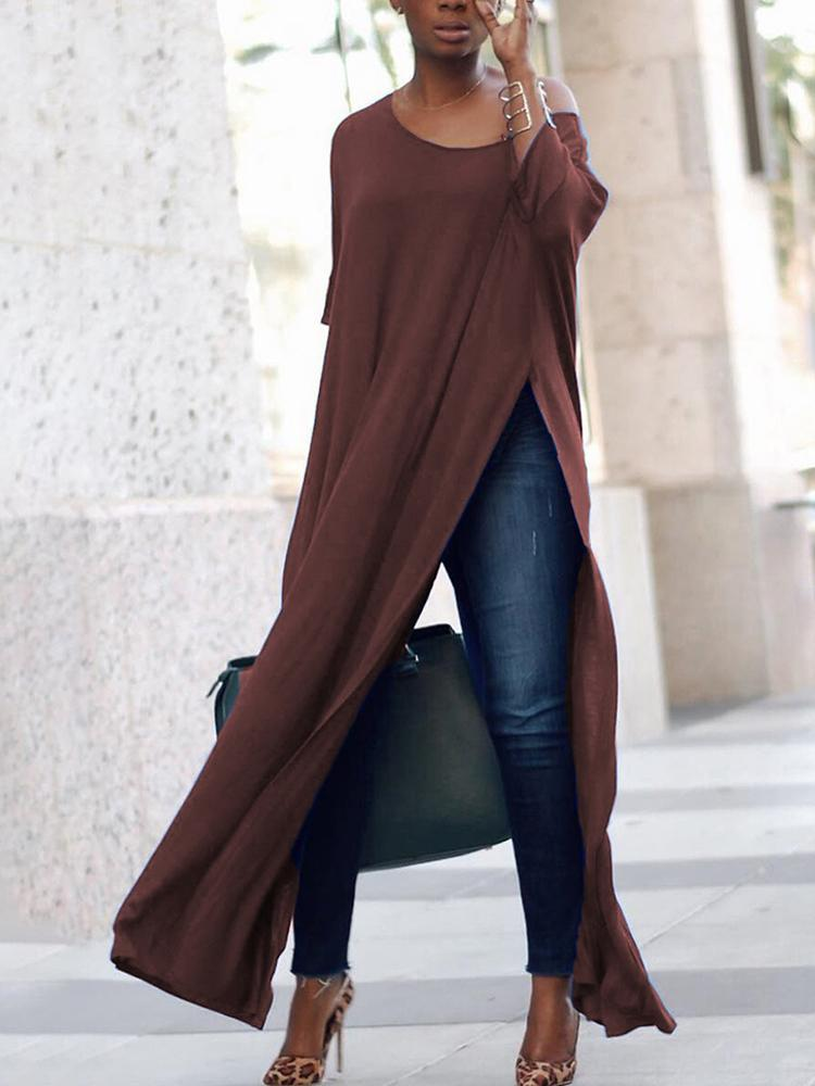 Stylish Solid High Slit Casual Blouse - Coffee фото