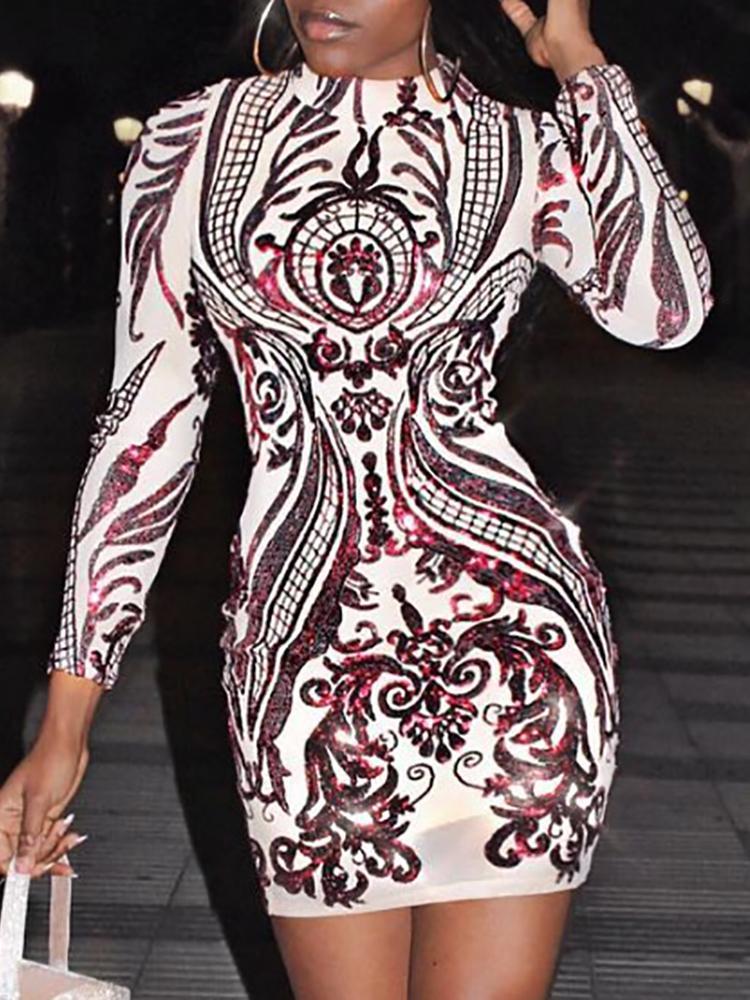 Baroque Long Sleeve Bodycon Sequin Party Dress