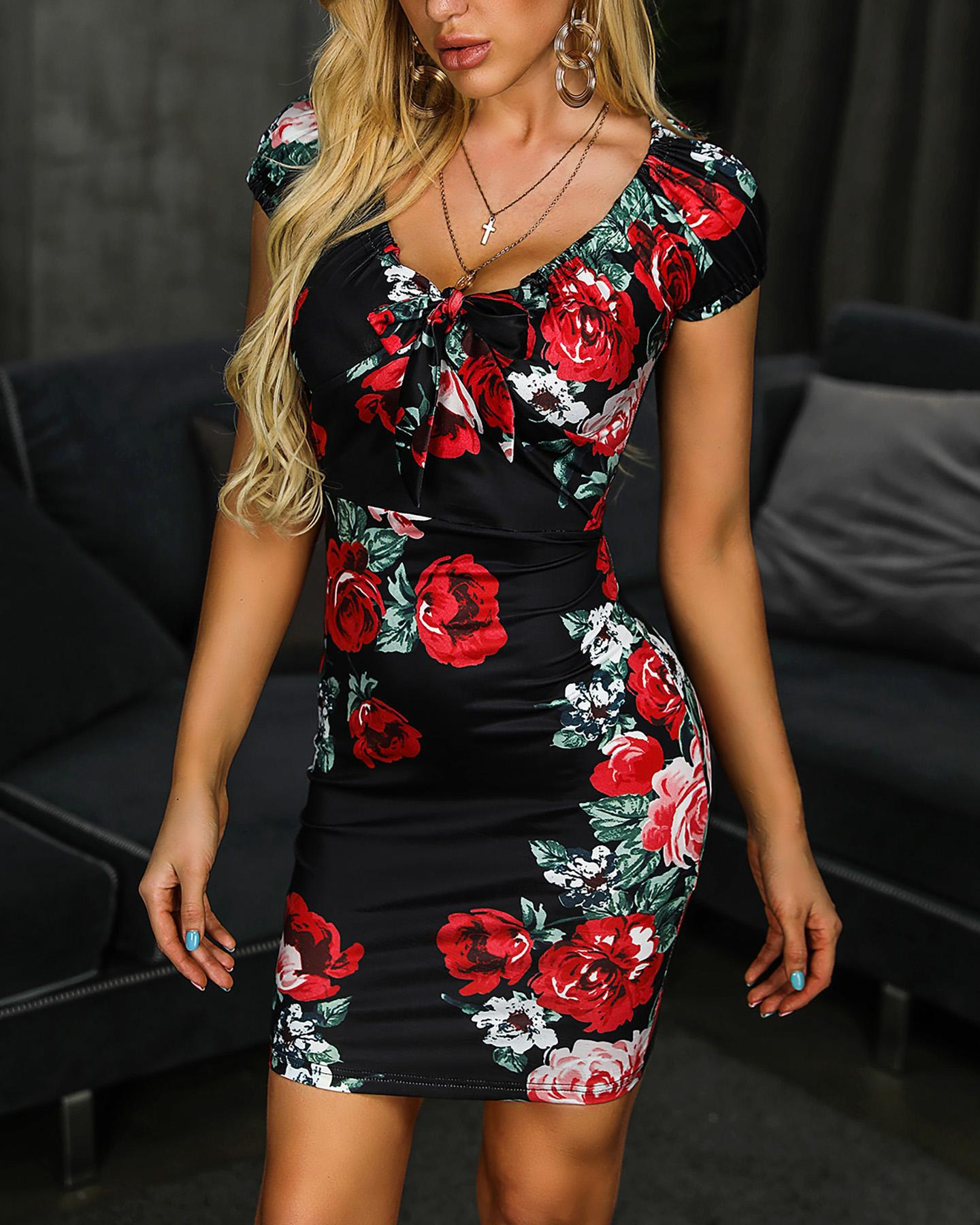 Floral Print Short Sleeve Knotted Bodycon Dress фото