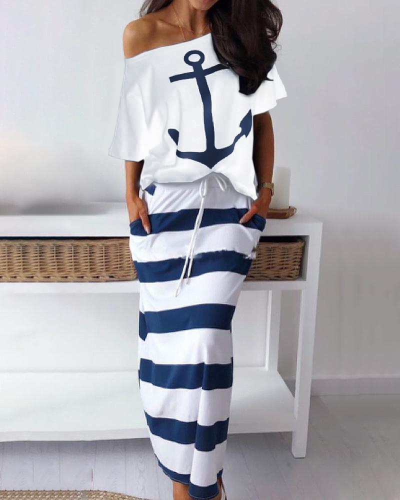 Boat Anchor Print T-Shirt & Striped Skirt Sets, joyshoetique, white  - buy with discount