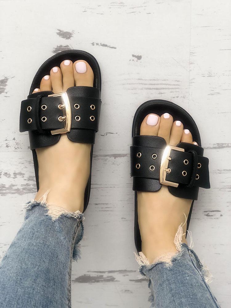 Eyelet Buckled Design Single Strap Flat Sandals