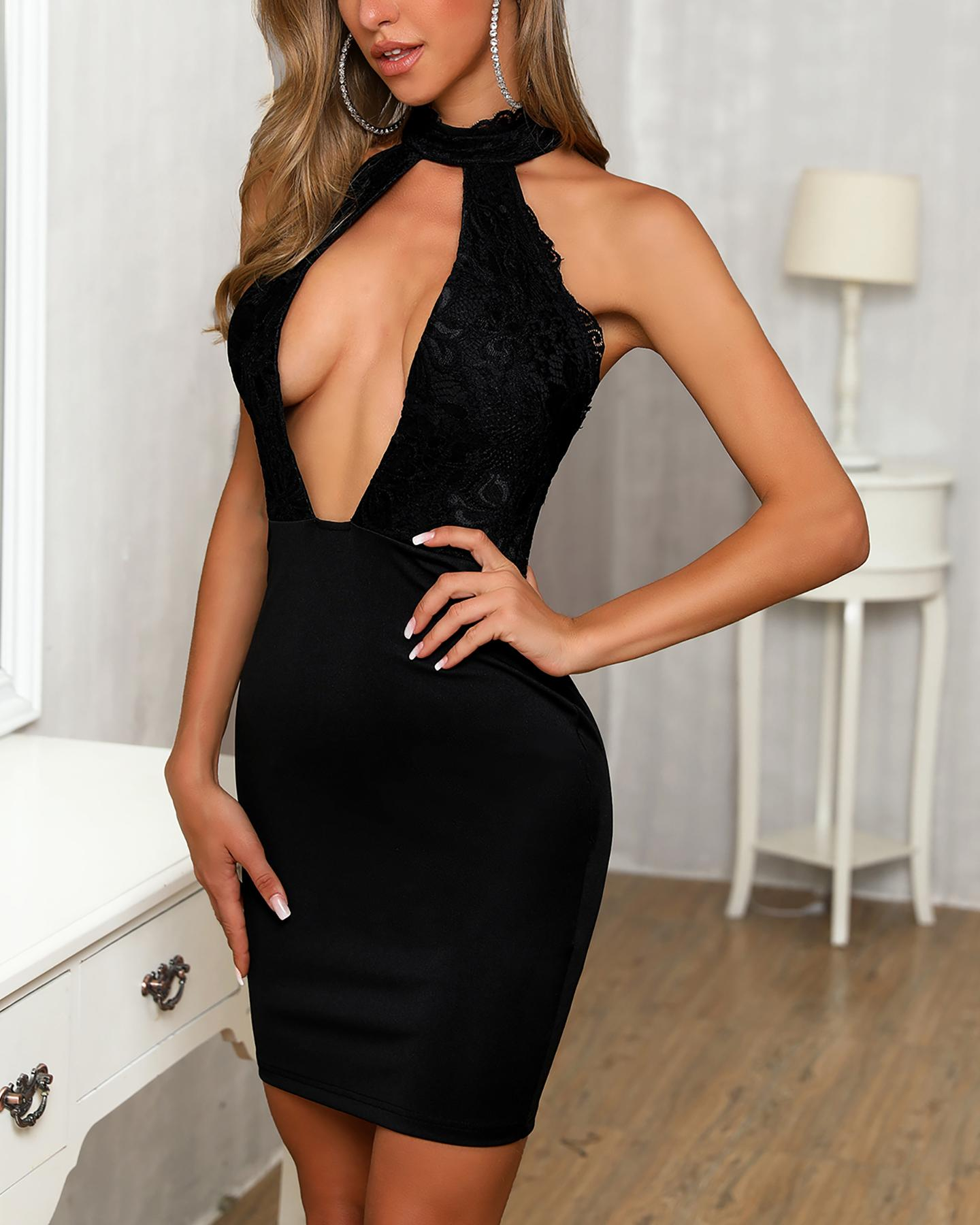 Halter Backless Cutout Plunge Lace Insert Bodycon Dress