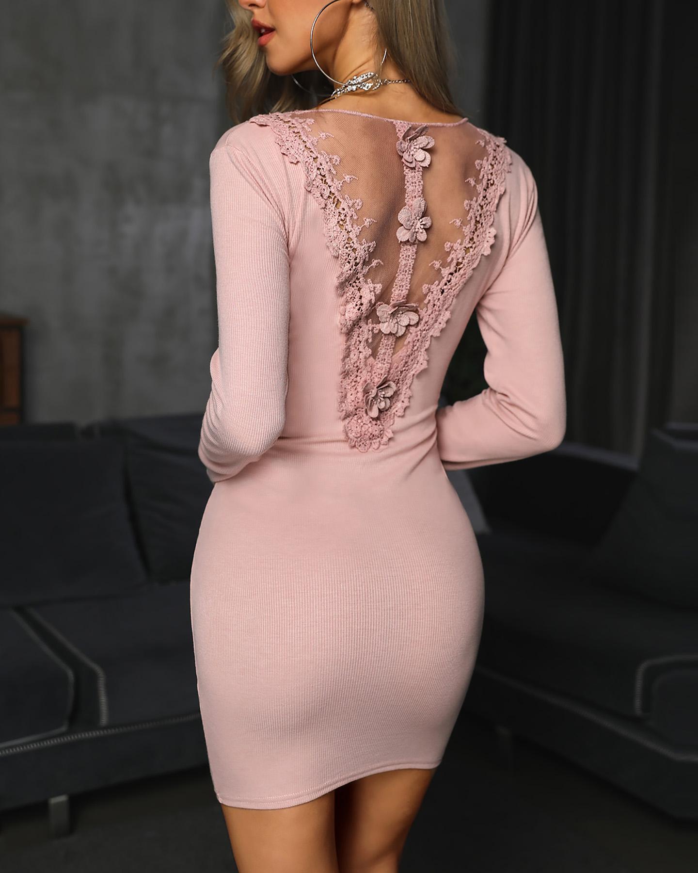 Long Sleeve Zipper Design Bodycon Dress