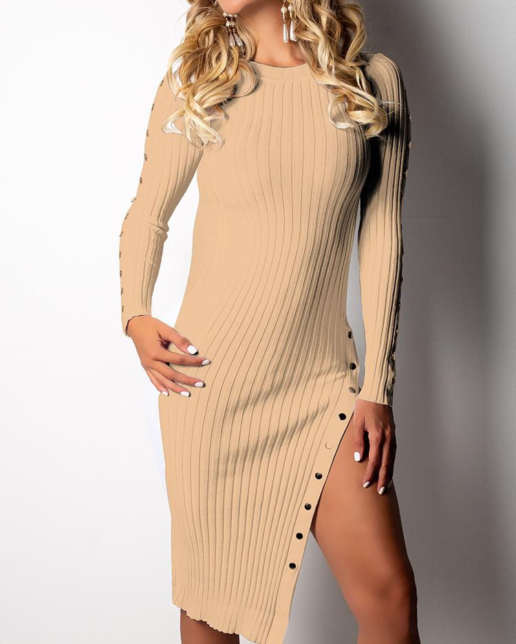 Button Design Slit Side Ribbed Slinky Dress, Khaki