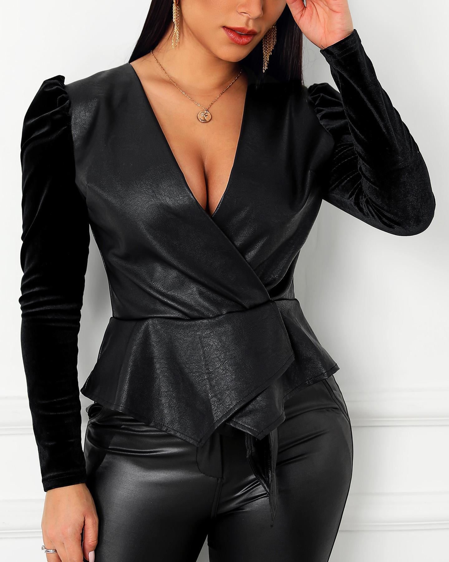 Faux Leather Zipper Puffed Sleeve Blouse фото