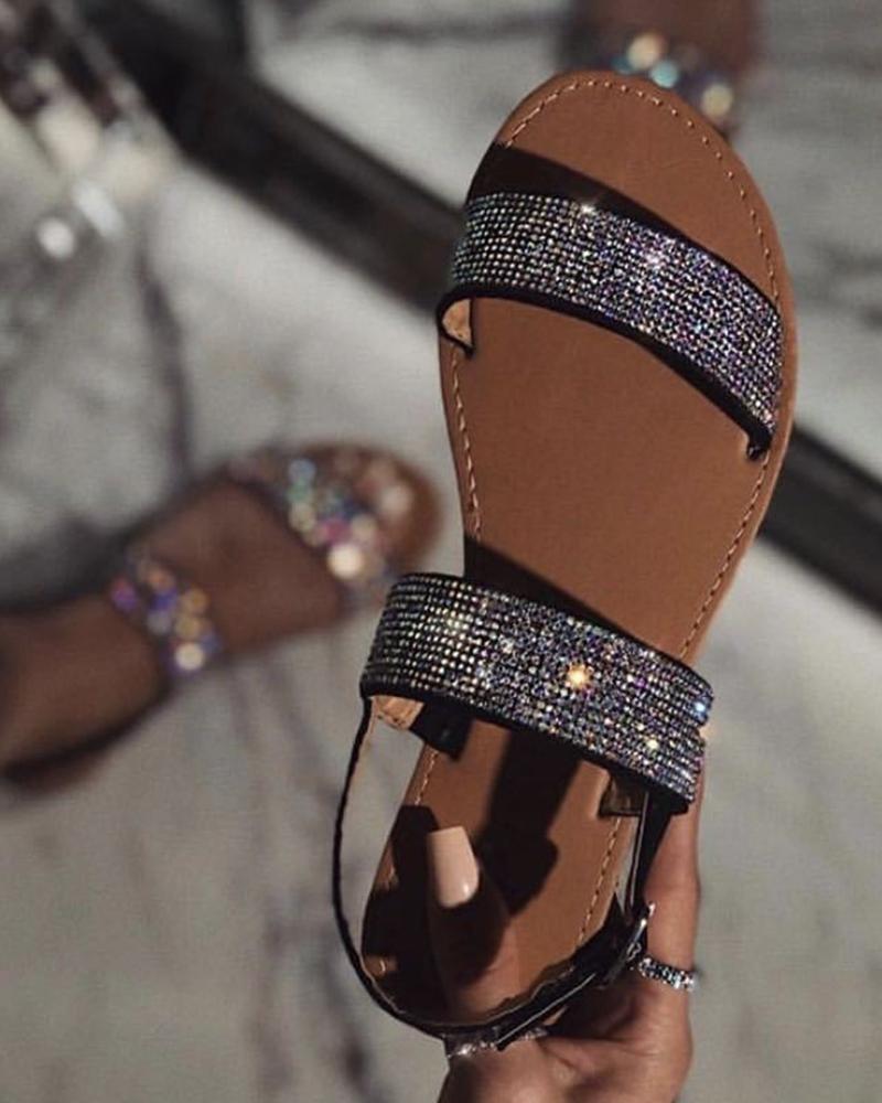 Casual Open Toe Sequins Flat Sandals фото