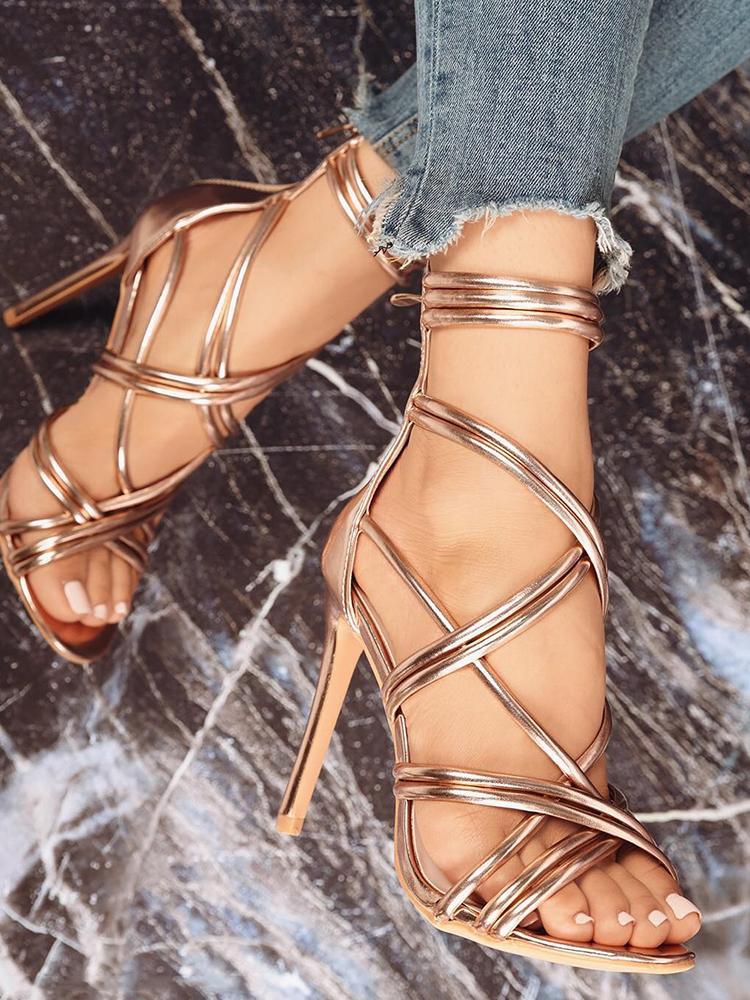 chicme / Stylish Lace-up Thin Heeled Sandals
