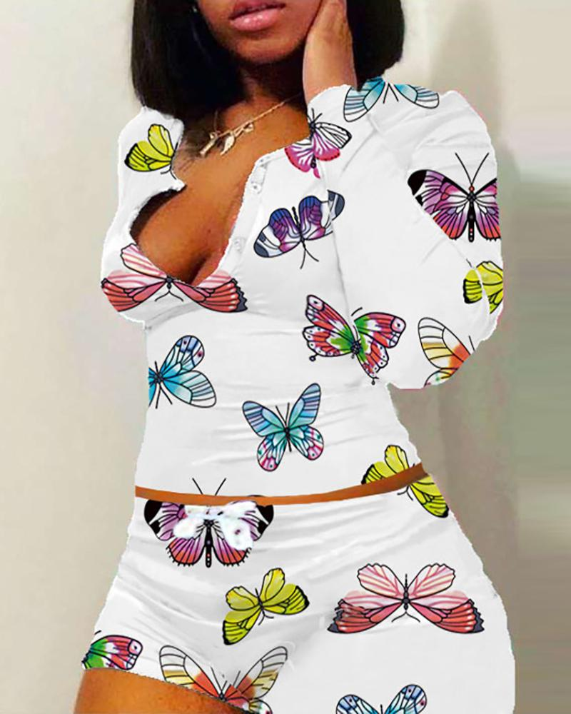 Butterfly / Lip / Letter Print Buttoned Pajamas Set фото