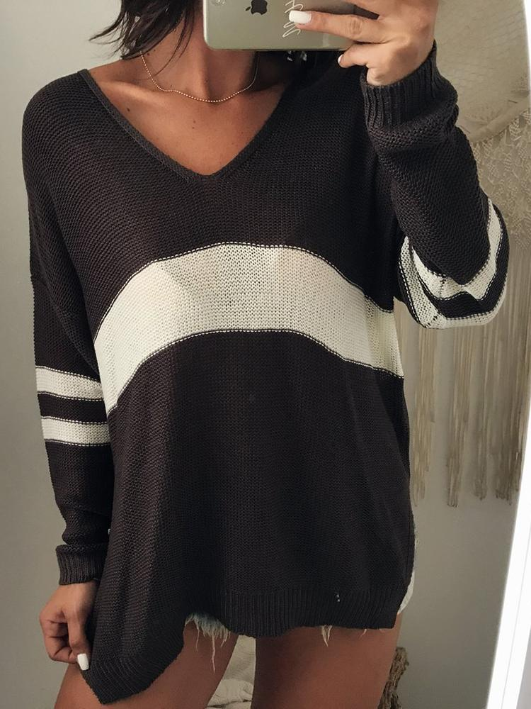 ivrose / Contrast Color V Neck Casual Sweater