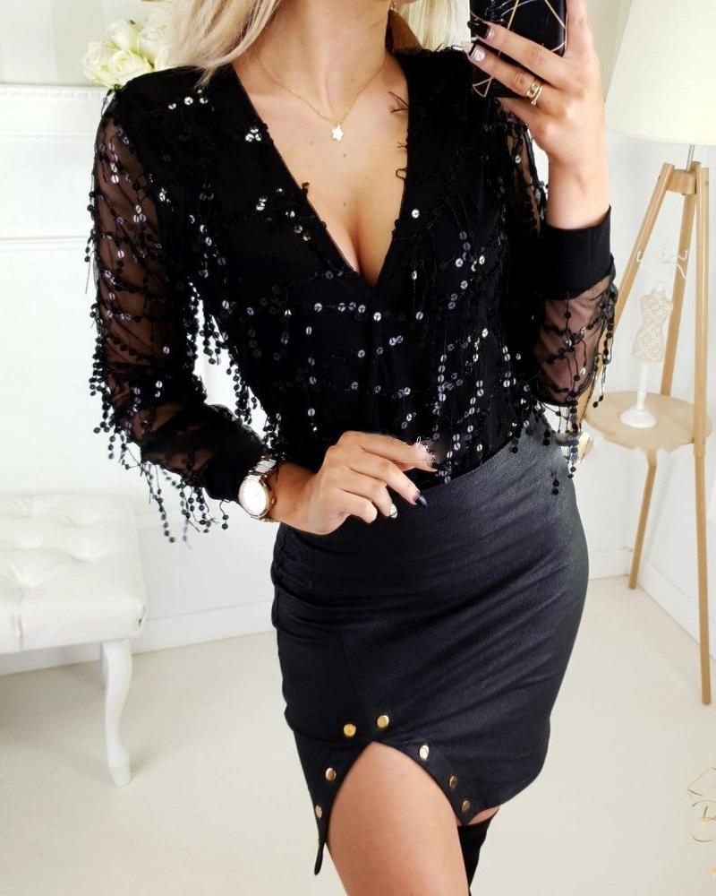 V-Neck Sequins Tassel Bodysuit