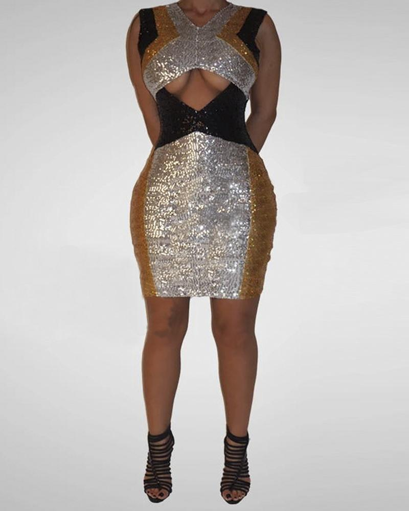 Glitter Sleeveless Colorblock Cut Out Sequins Bodycon Dress фото