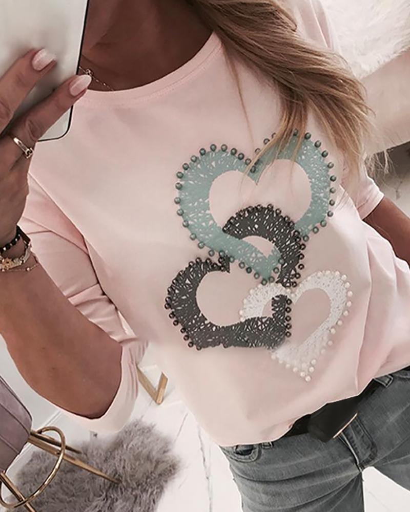 Beaded Heart Print Round Neck Long Sleeve T-shirt фото
