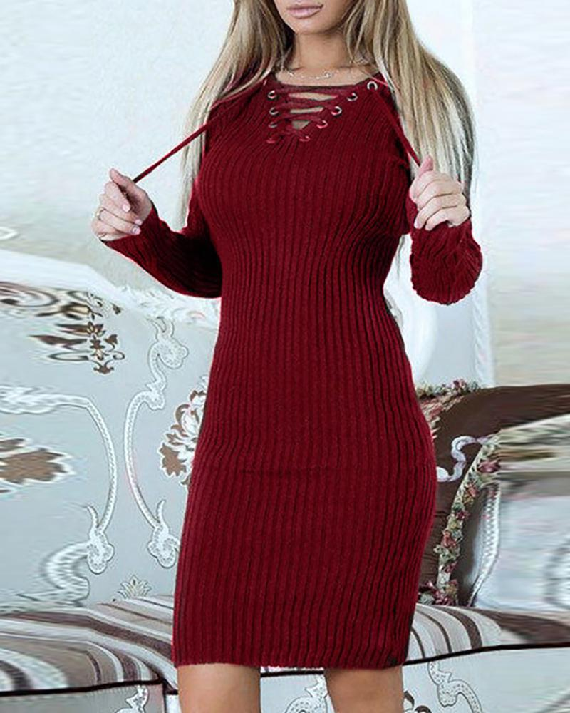Solid Eyelet Lace-up Ribbed Bodycon Dress, Wine red