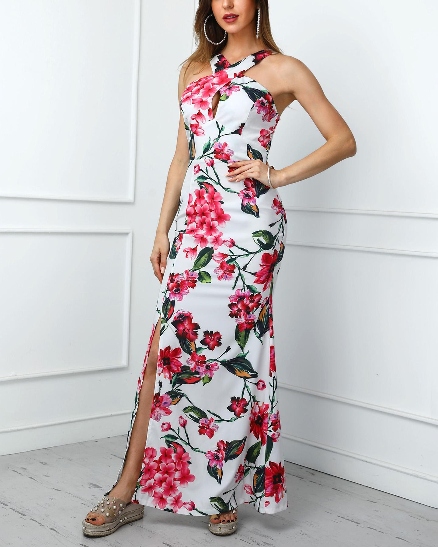 Floral Print Crisscross Neck Maxi Dress