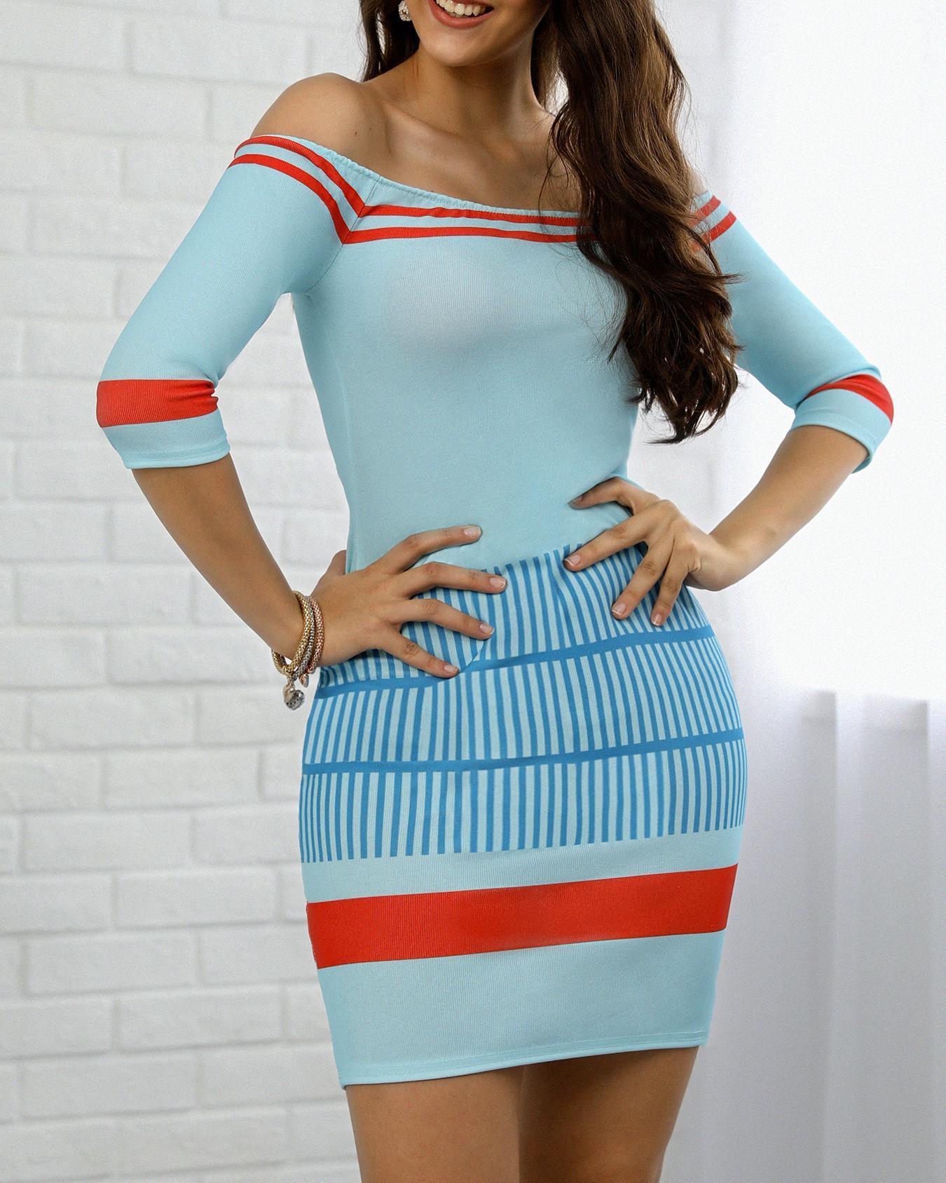 chicme / Vestido ajustado Bardot a media pierna con rayas en contraste