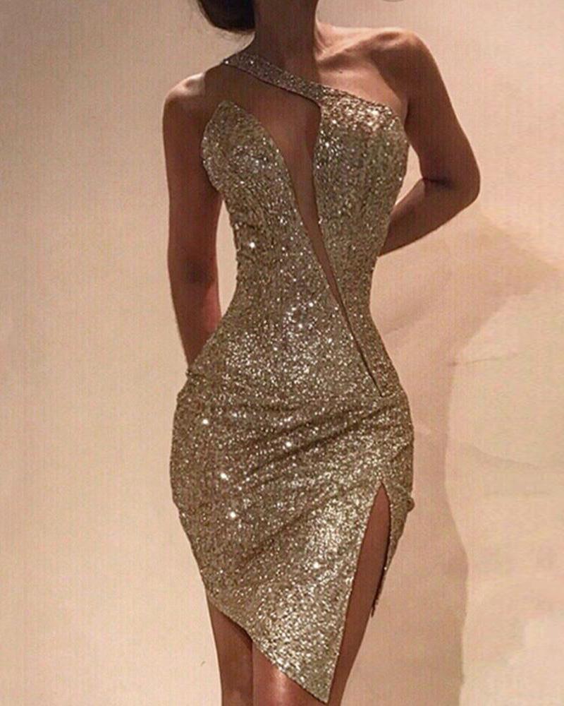 One Shoulder Cut Out Slit Bodycon Sequin Dress фото