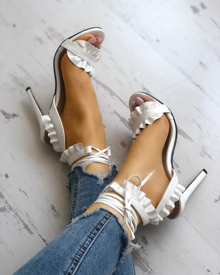 boutiquefeel / Solid Lace-up Ruffles Peep Toe Stiletto Sandals