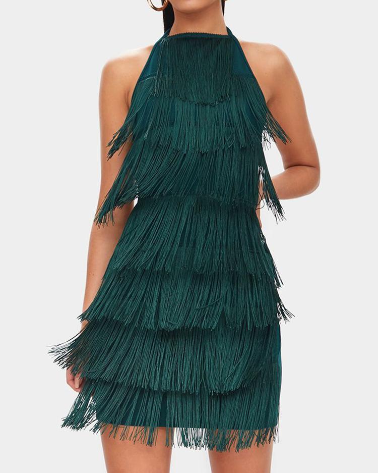 Halter Layered Tassel Open Back Dress фото