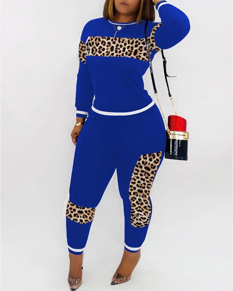 chicme / Conjuntos de pantalón y top de manga larga de leopardo de patchwork liso