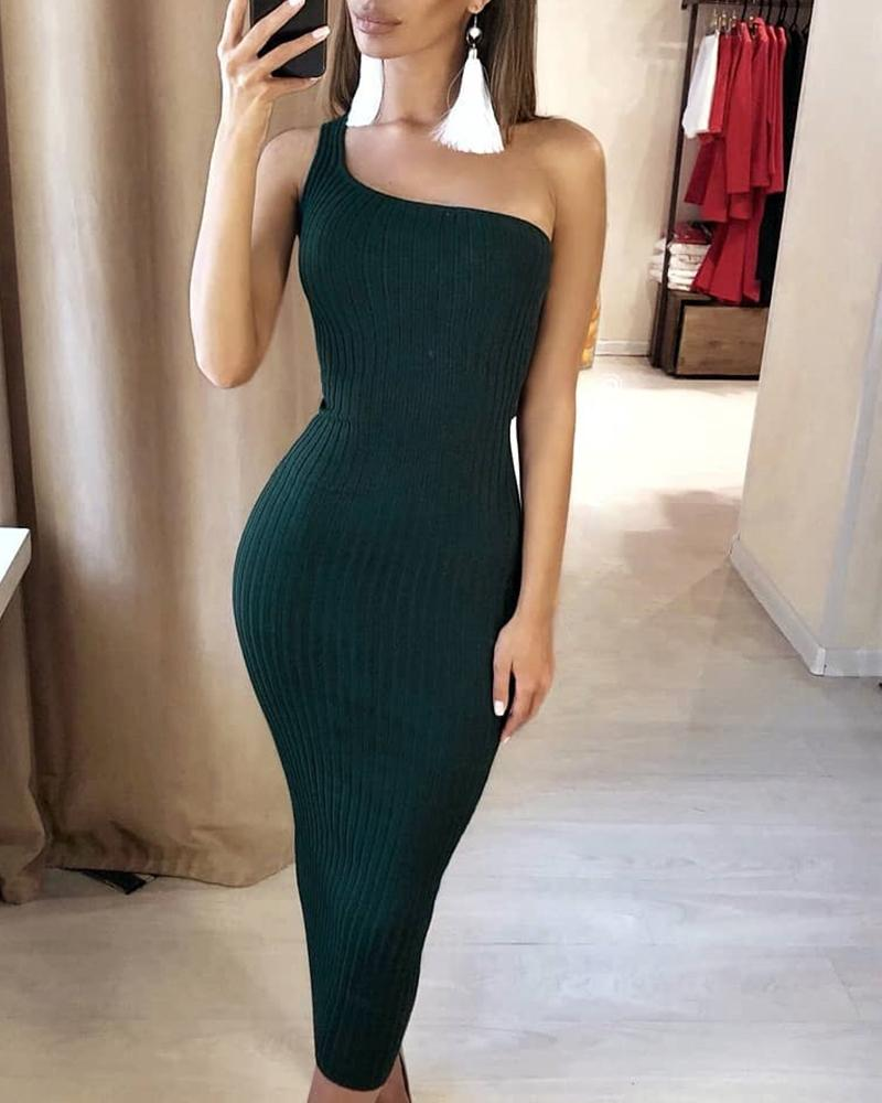 One Shoulder Ribbed Bodycon Dress chicme