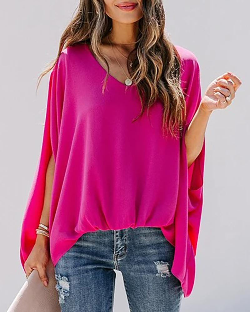 ivrose / Ruched Bat Sleeve Casual Top