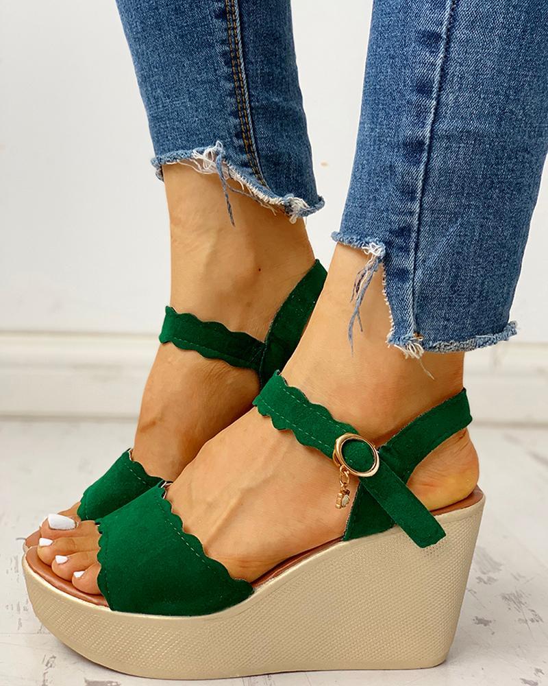 Ankle Strap Buckled Platform Wedge Sandals фото