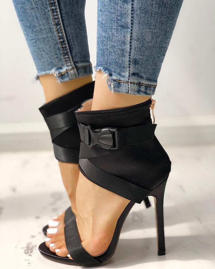 Splicing Bandage Peep-toe High Heeled Sandals фото