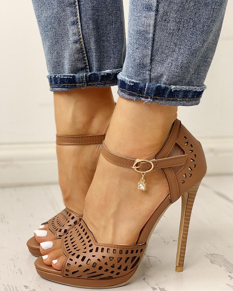chicme / Peep Toe escavar sandálias de salto alto