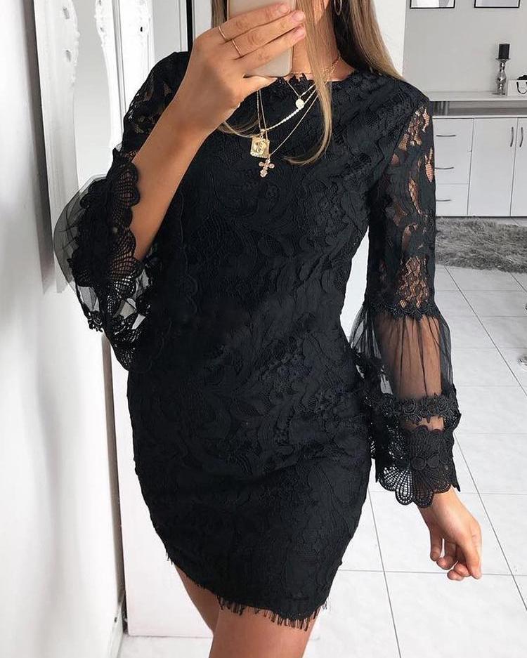 Guipure Lace Mesh Splicing Sheath Dress фото