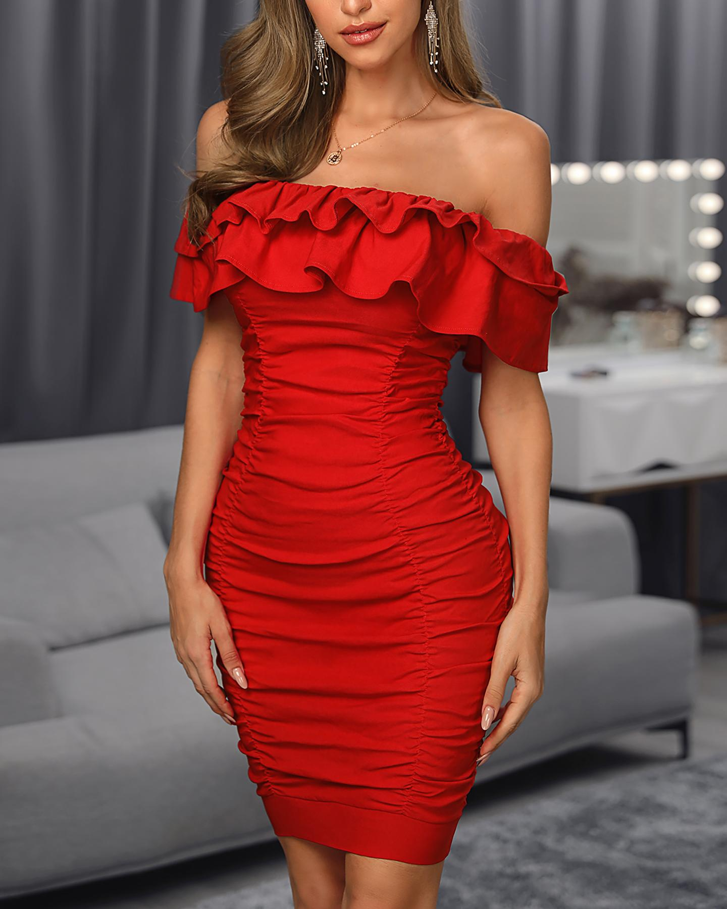 Solid Off Shoulder Ruched Layered Ruffles Bodycon Dress, Red