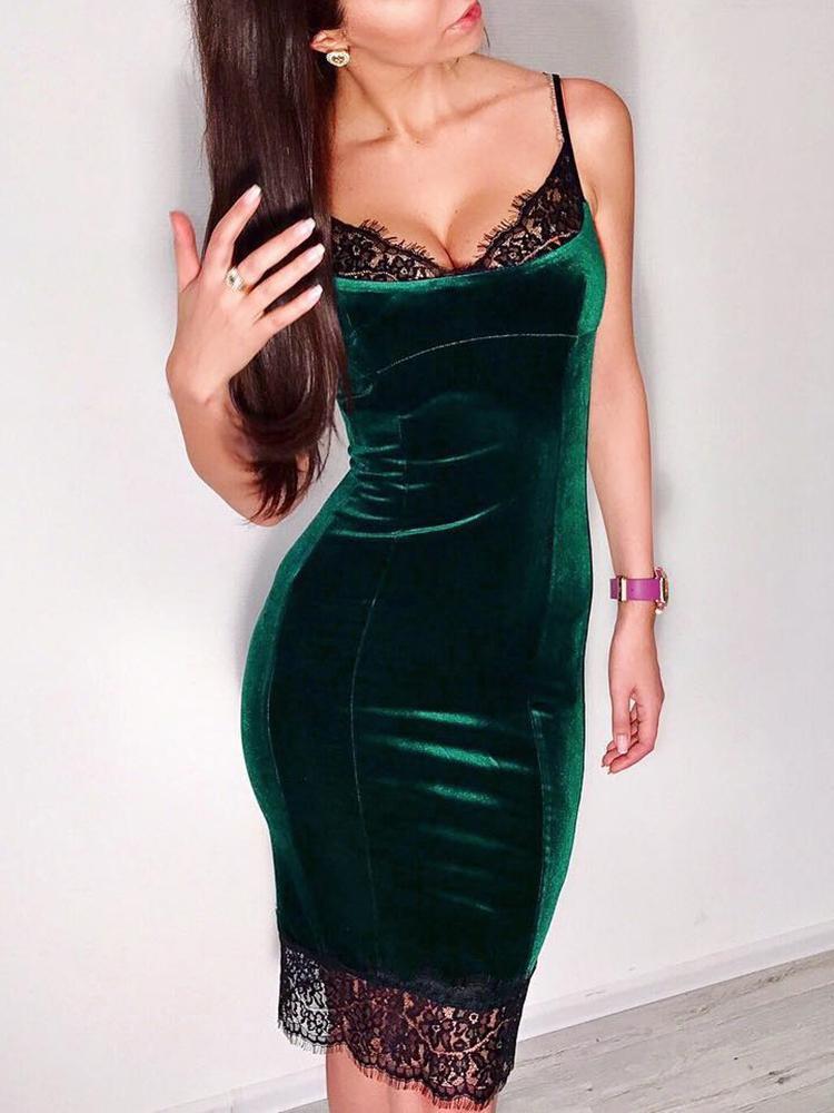 joyshoetique / Eyelash Lace Insert Velvet Spaghetti Strap Dress