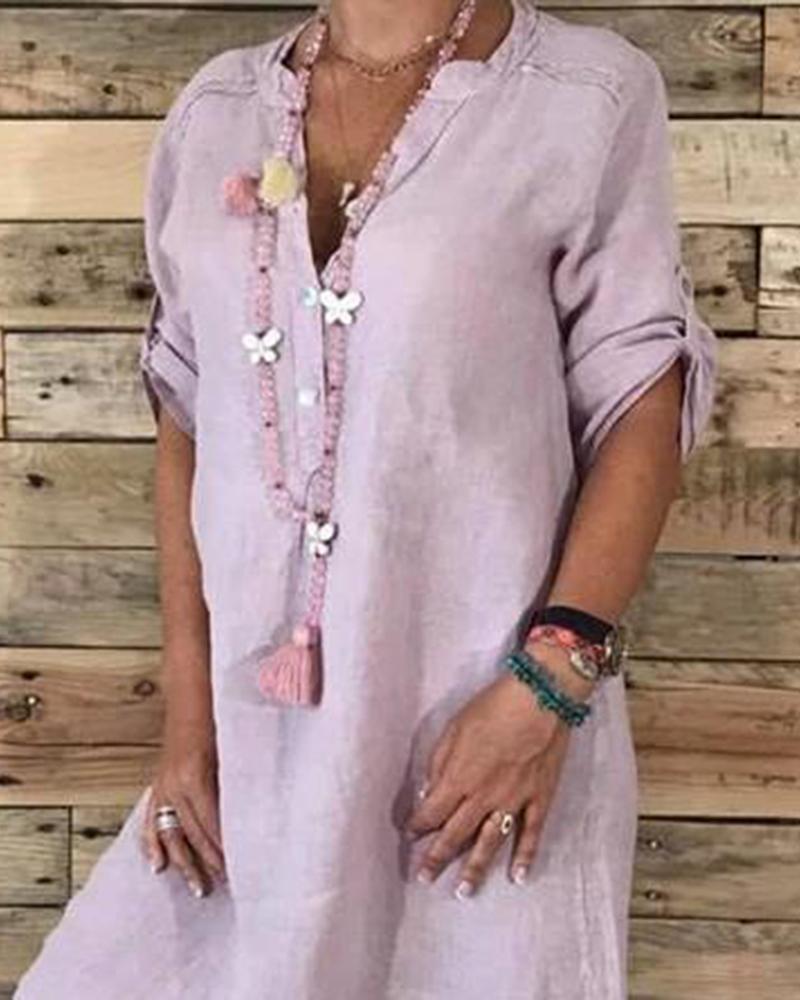 Linen Cotton Casual Midi Dress фото
