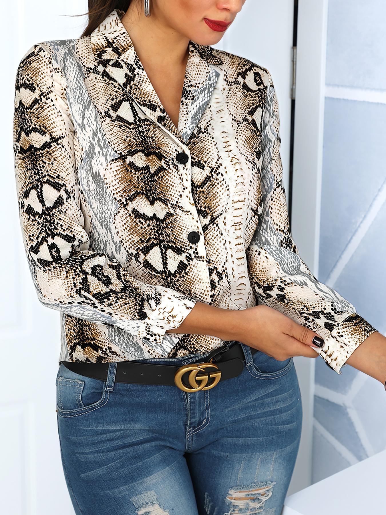 Blouse ample à manches longues à imprimé peau de serpent