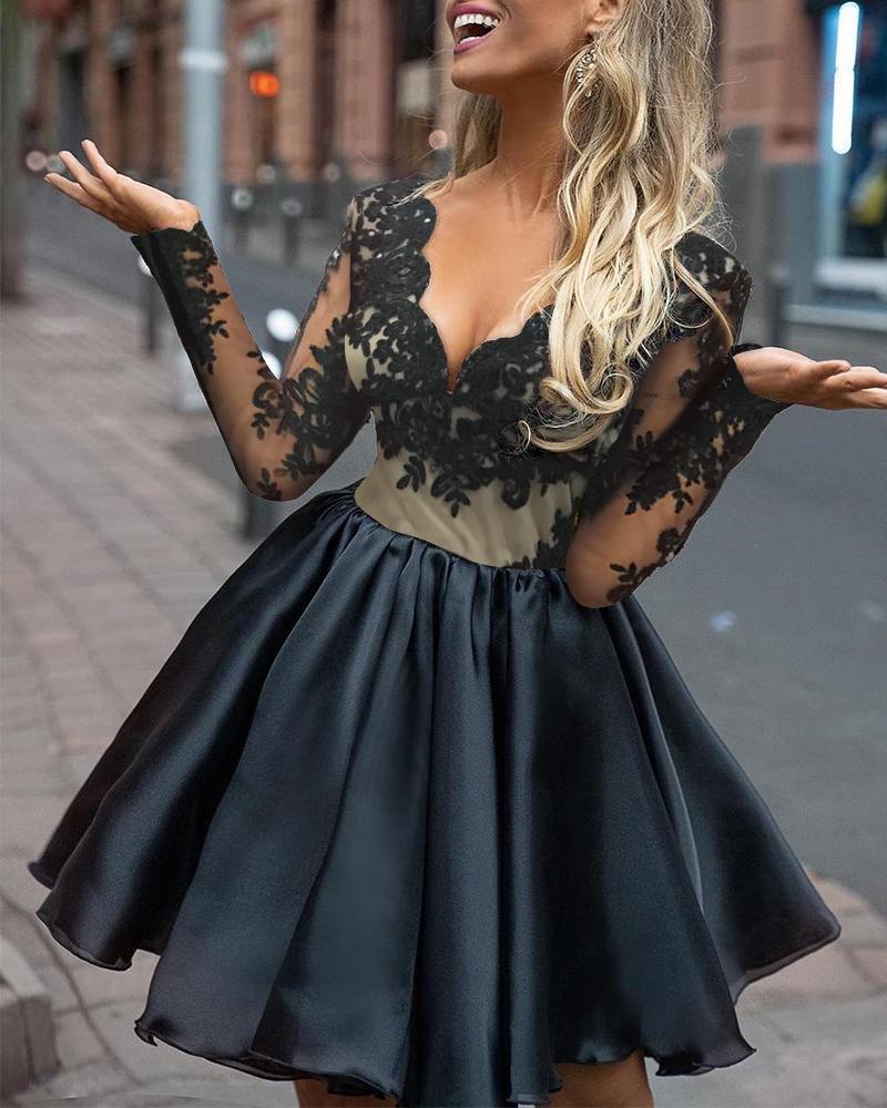 Sheer Lace Top Mini Dress фото