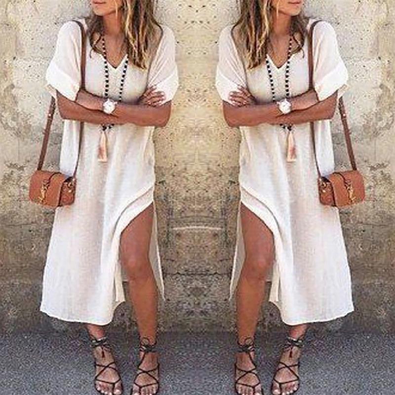 Boho Style V Neck High Slit Casual Dress